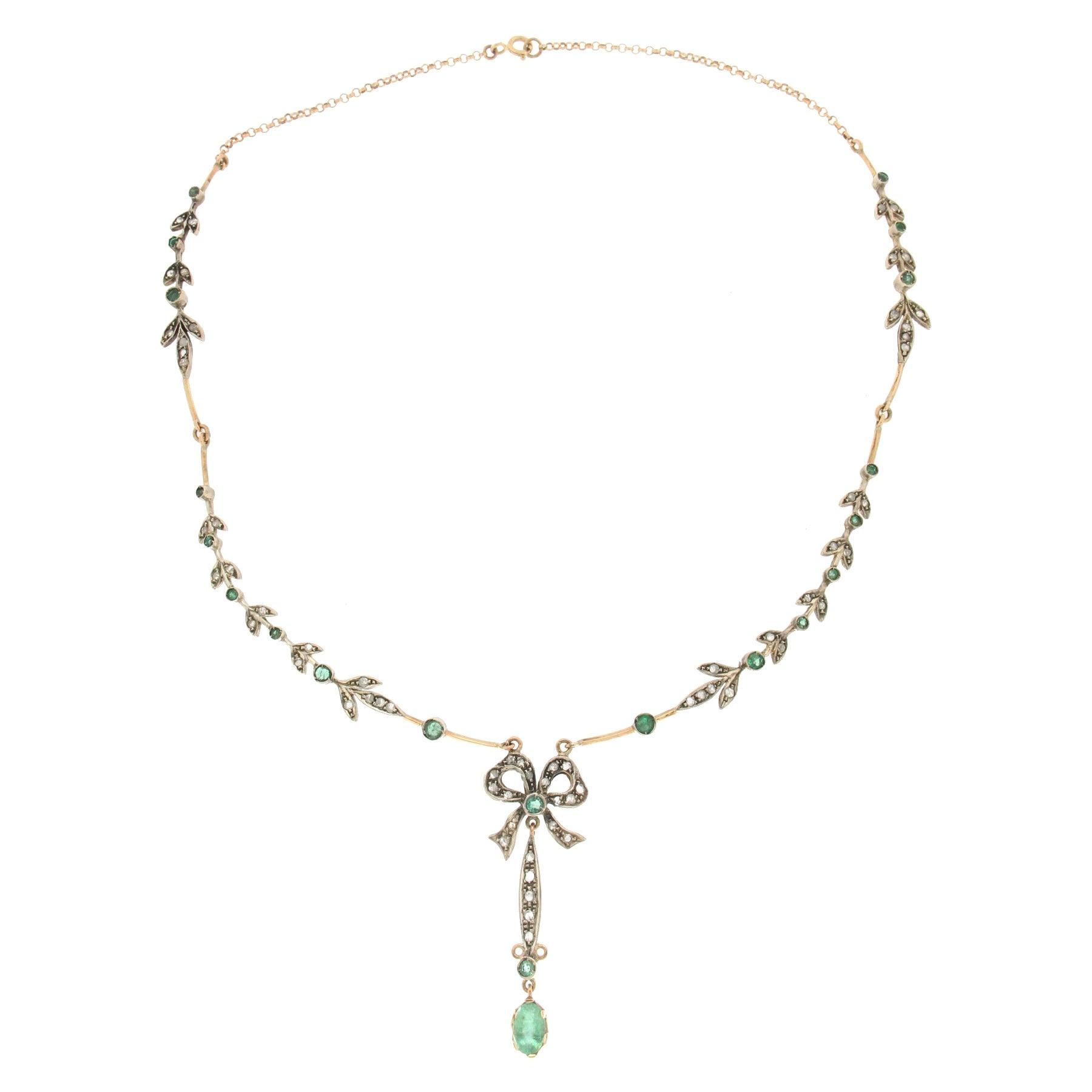 Handcraft Emeralds 14 Karat Yellow Gold Diamonds Drop Necklace