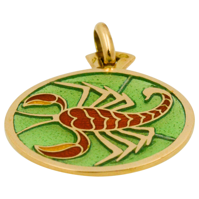 Plique-à-Jour Scorpio Stained Glass 18 Karat Yellow Gold Pendant