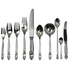 Georg Jensen Sterling Silver Ten-piece Flatware Service for Twelve in Acorn