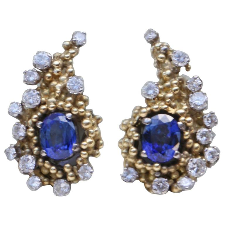 Charles de Temple Sapphire Diamond Gold Cornucopia Earrings