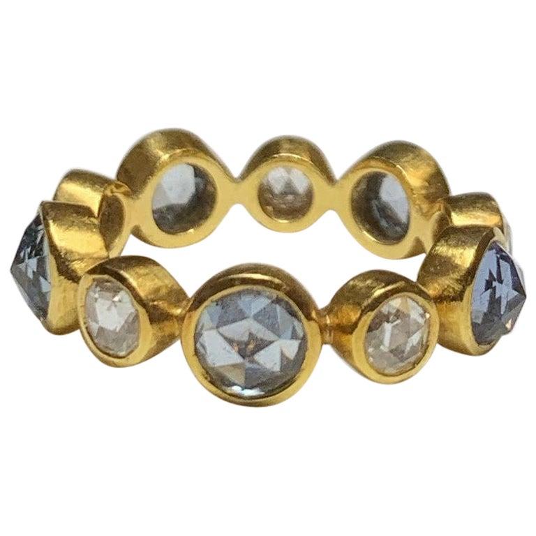 Rose Cut Blue Sapphire and Diamond Eternity Ring, 22 Karat Gold, A2 by Arunashi