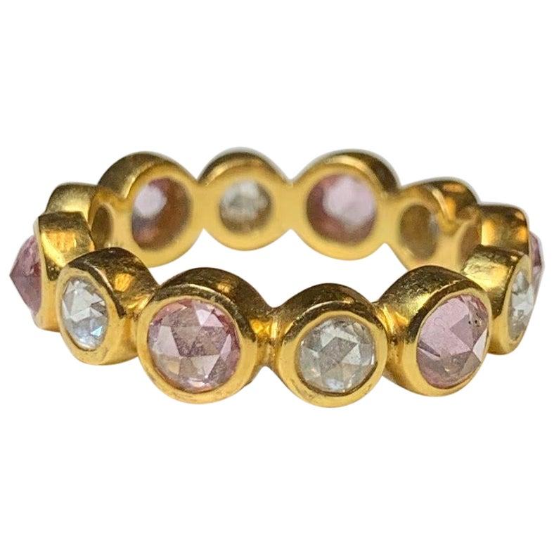 Rose Cut Pink Sapphire and Diamond Eternity Ring, 22 Karat Gold, A2 by Arunashi