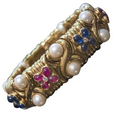 Bulgari Ruby Sapphire and Pearl Flexible Gold Cuff Bracelet Bangle