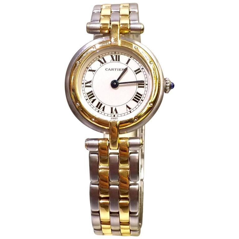 Cartier Yellow Gold Stainless Steel Ronde Collection Quartz Wristwatch For Sale