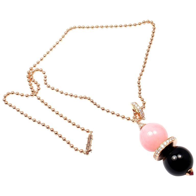 Cartier Évasions Joaillières Pink Opal Onyx Diamond Gold Lariat Necklace