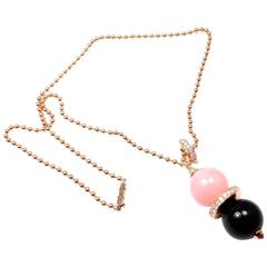 Cartier Évasions Joaillières Pink Opal Onyx Diamond Gold Lariat Necklace