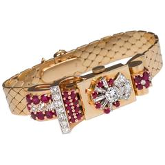 Lady's platinum yellow gold diamond ruby manual wind wristwatch