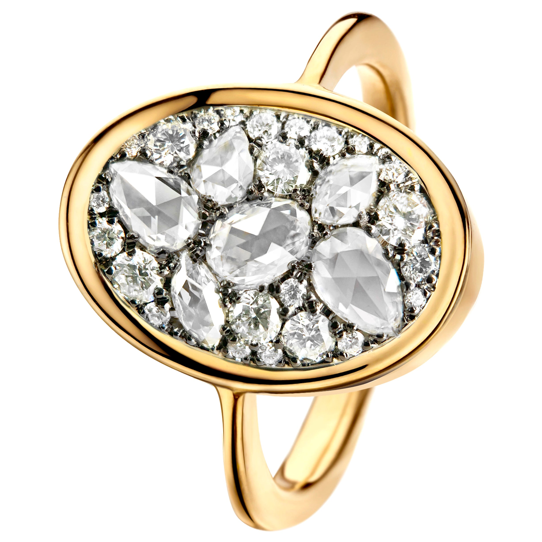 1 Carat White GHVS Rose-Cut and DEGVVS Brilliant-Cut Diamond Pave Ring