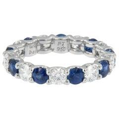 William Rosenberg Platinum 1.95 Ct Sapphire and 1.65 Ct Diamond Eternity Ring