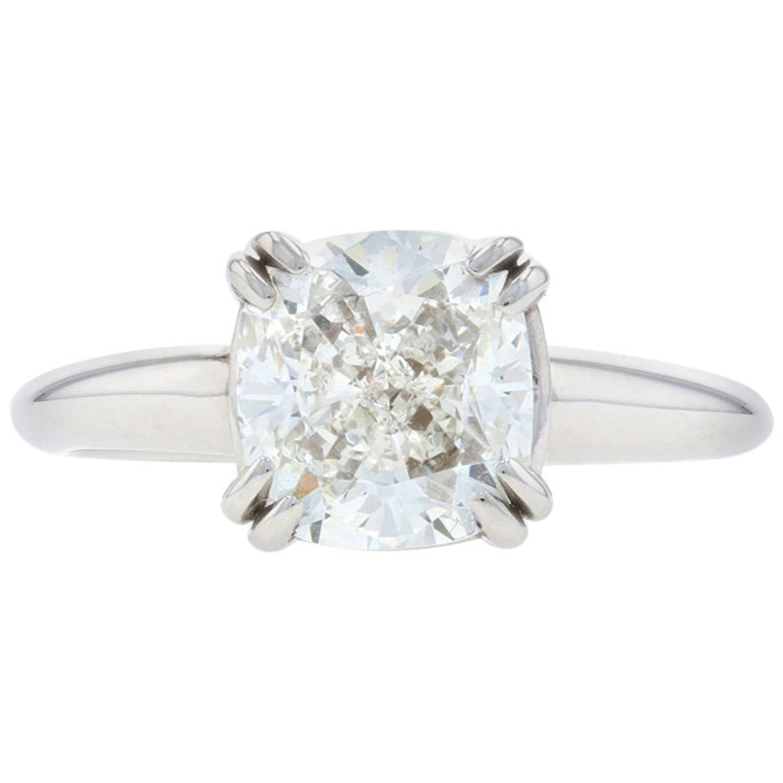 White Gold Diamond Solitaire Engagement Ring, 14 Karat Cushion Cut 2.52 Carat