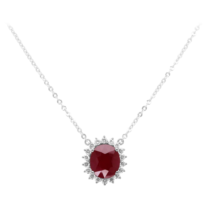 10.07 Carat Oval Shaped Ruby and 1.33 Carat White Diamond Pendant 18 Karat Gold