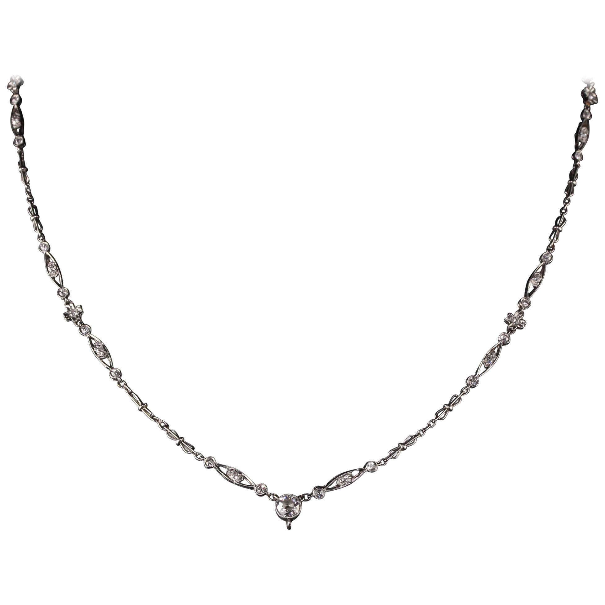 Antique Art Deco Platinum Old European Diamond Necklace