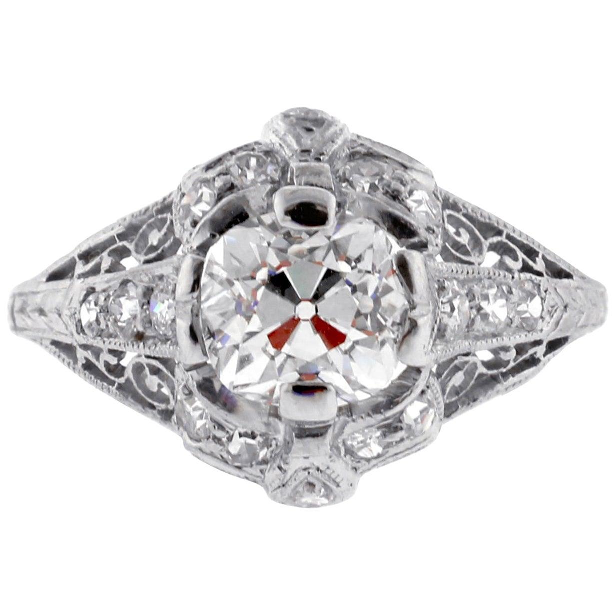 Edwardian Old Mine Cut Diamond Engagement Ring
