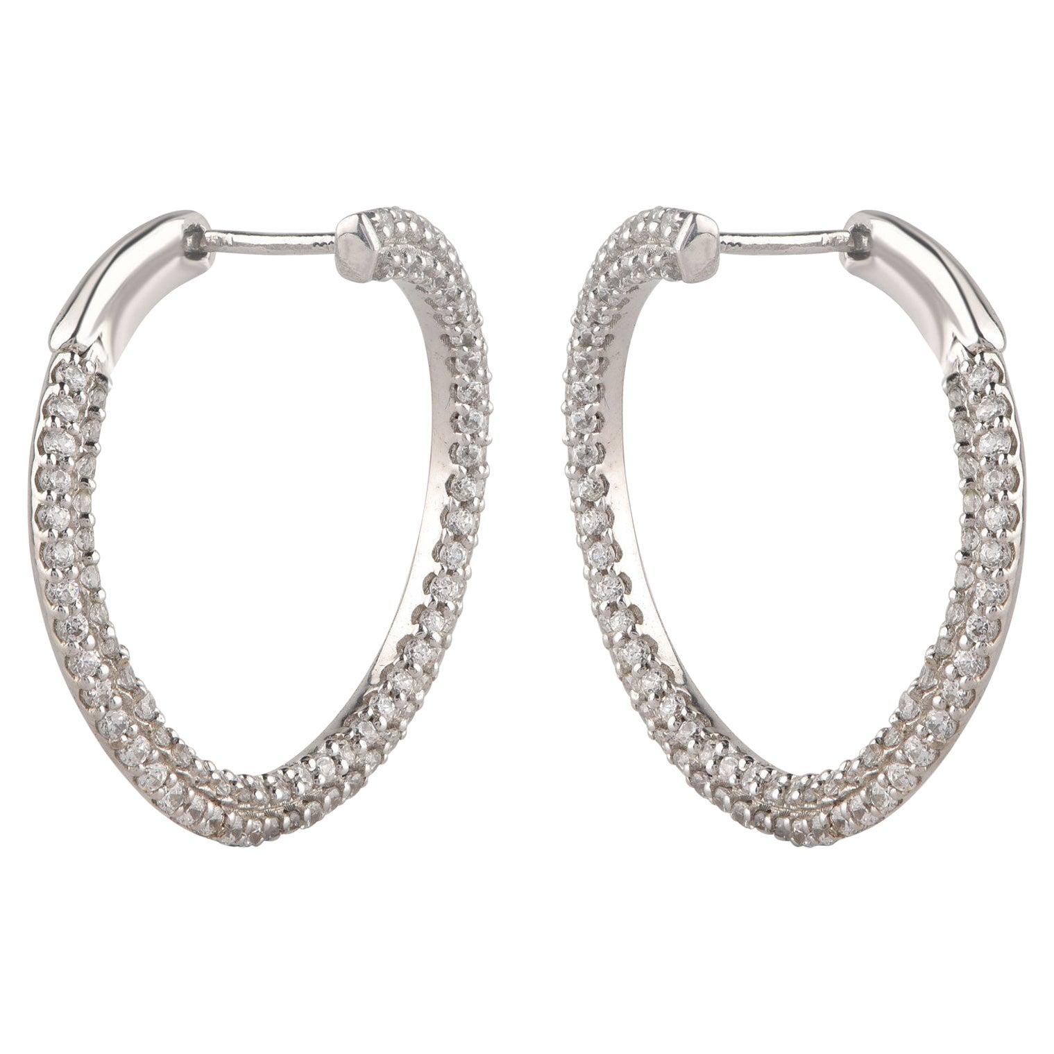 TJD 1.00 Carat Diamond 18 Karat White Gold Twist Charming Hoop Earrings