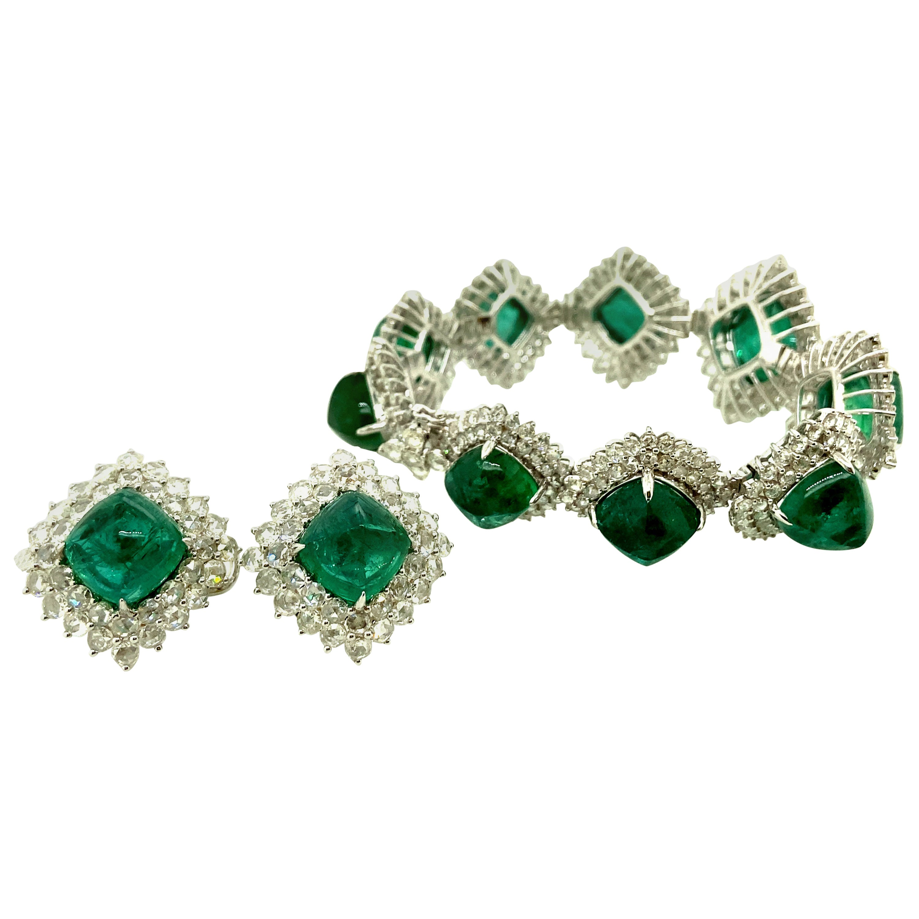 108.74 Carat Emerald Sugarloaf and White Diamond Gold Bracelet and Earrings Set