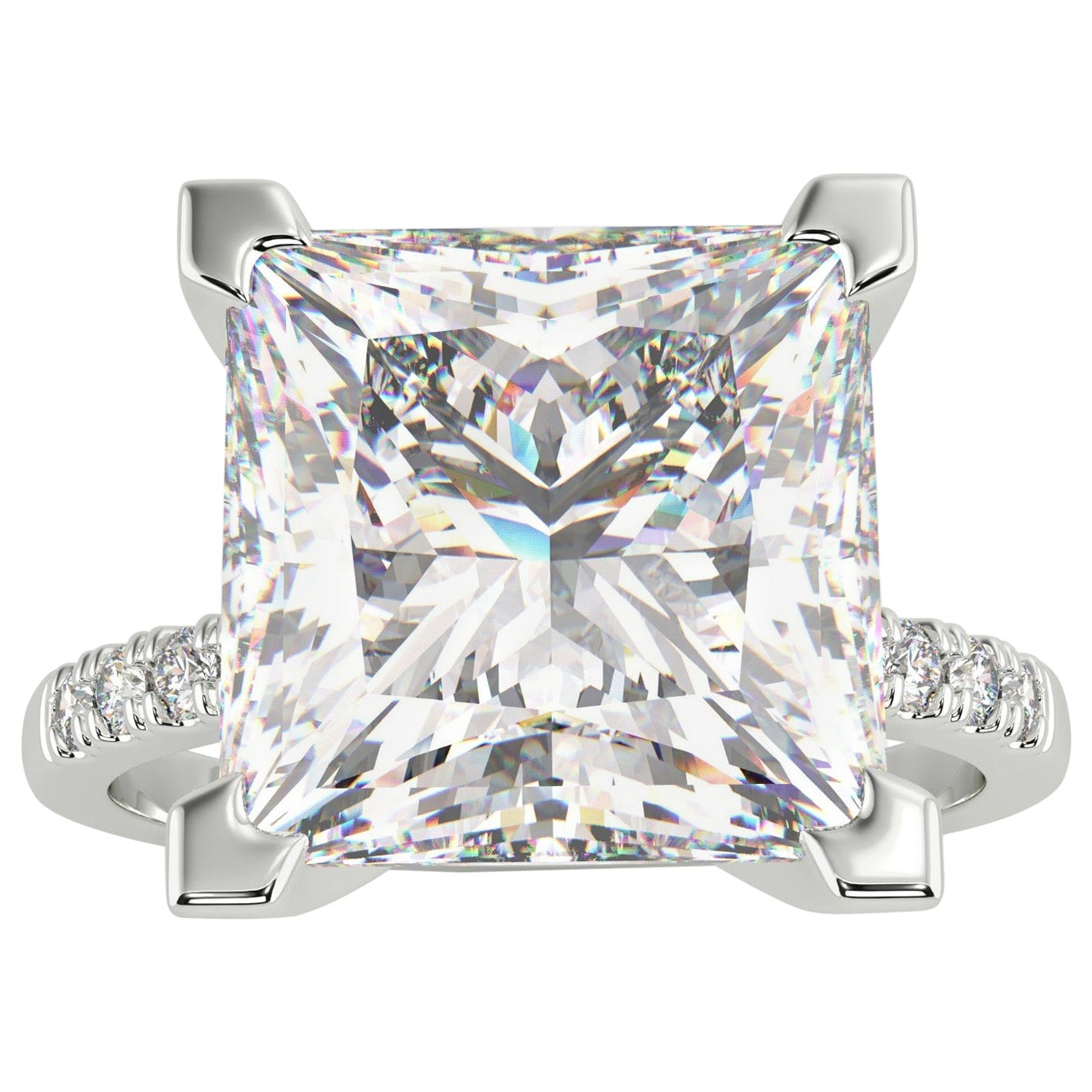 GIA 4.50 Carat Princess Cut Diamond Platinum Ring