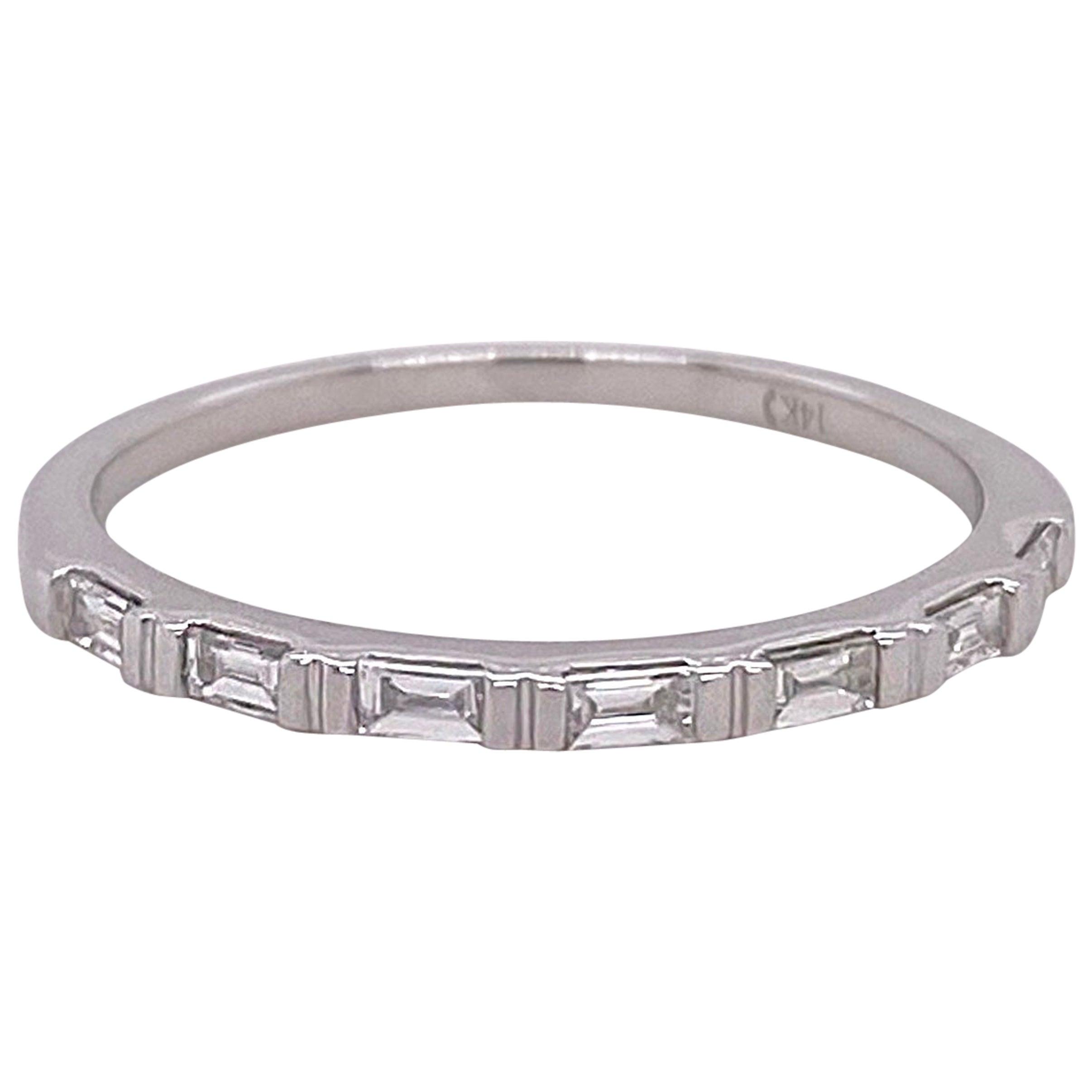 1/4 Carat Diamond Baguette Ring Band 14 Karat White Gold Wedding Stackable Band