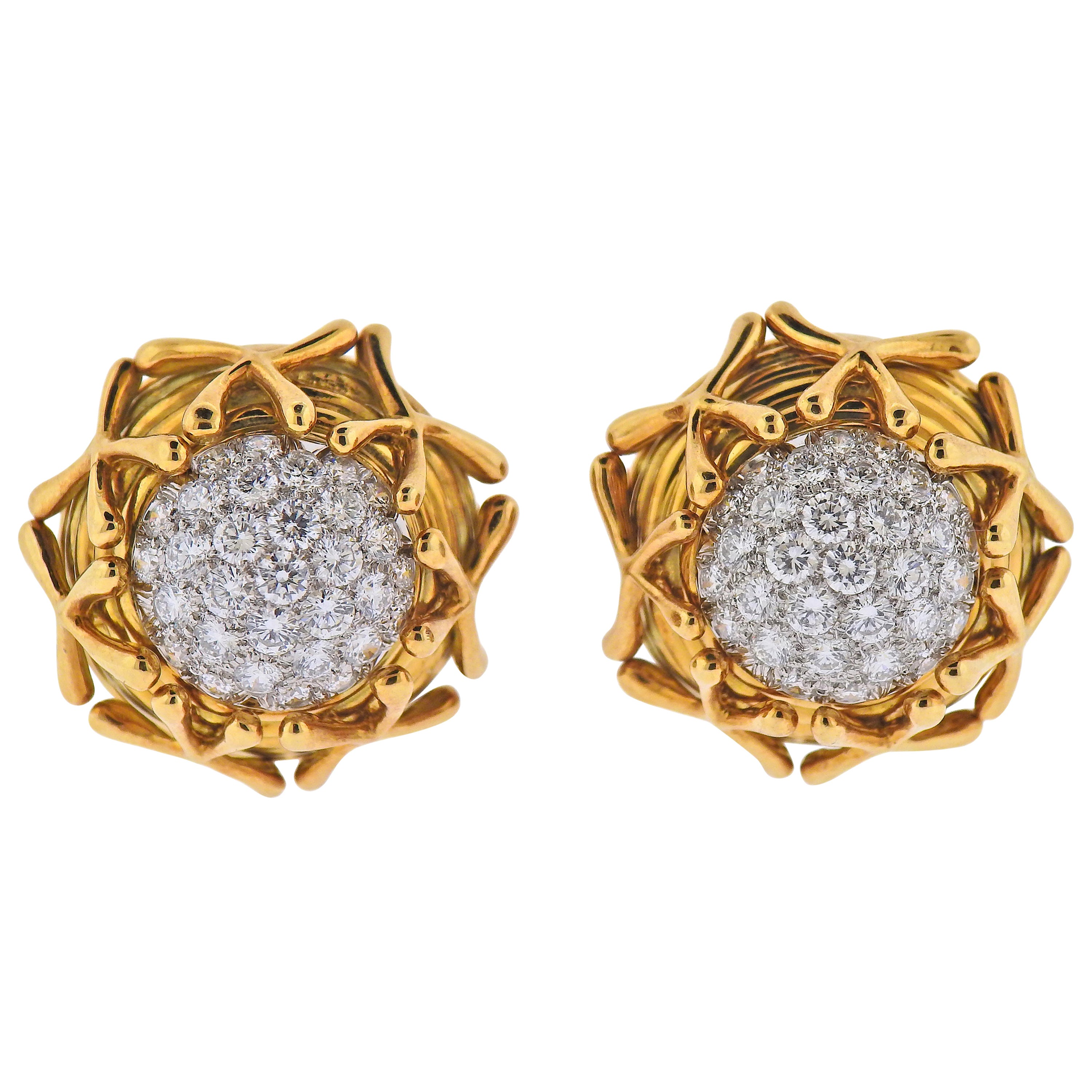 Tiffany & Co Schlauberger Diamond Platinum Gold Earrings
