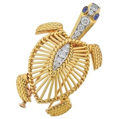 Cartier Paris Diamond Sapphire Gold Platinum Turtle Brooch Pin