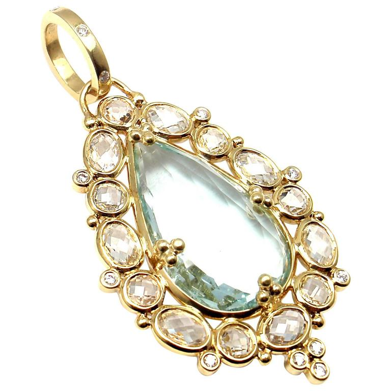 Temple St Clair White Sapphire Green Beryl Diamond Gold Pendant