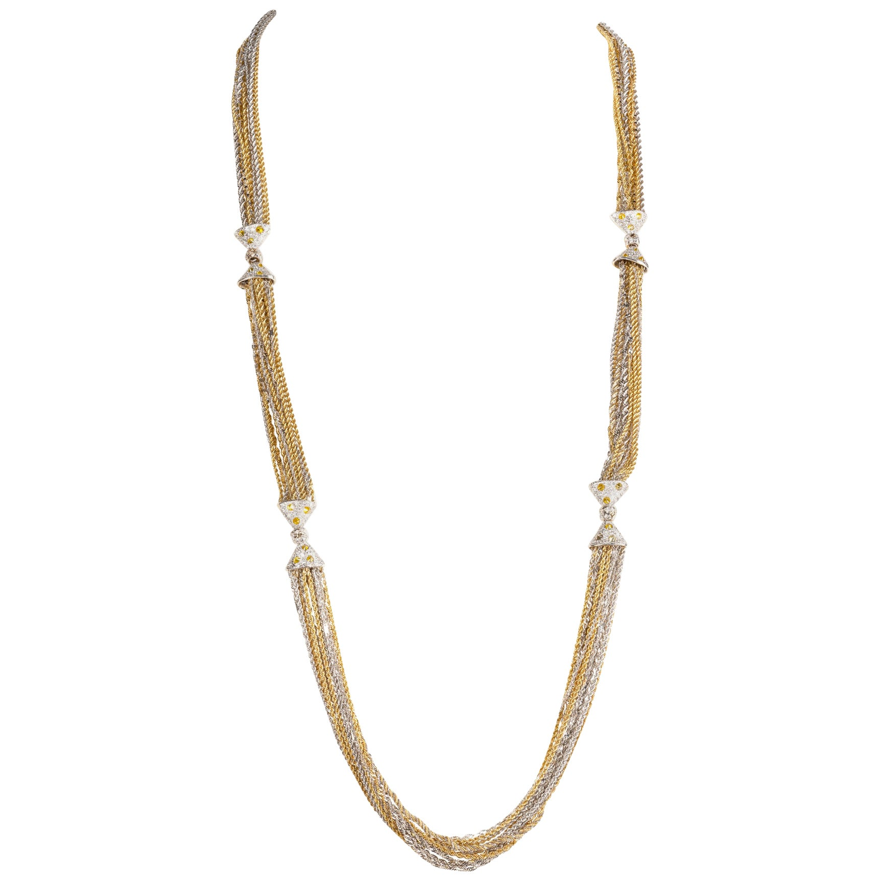 Long Necklace in White and Yellow Gold, with White and Fancy Yellow Diamonds
