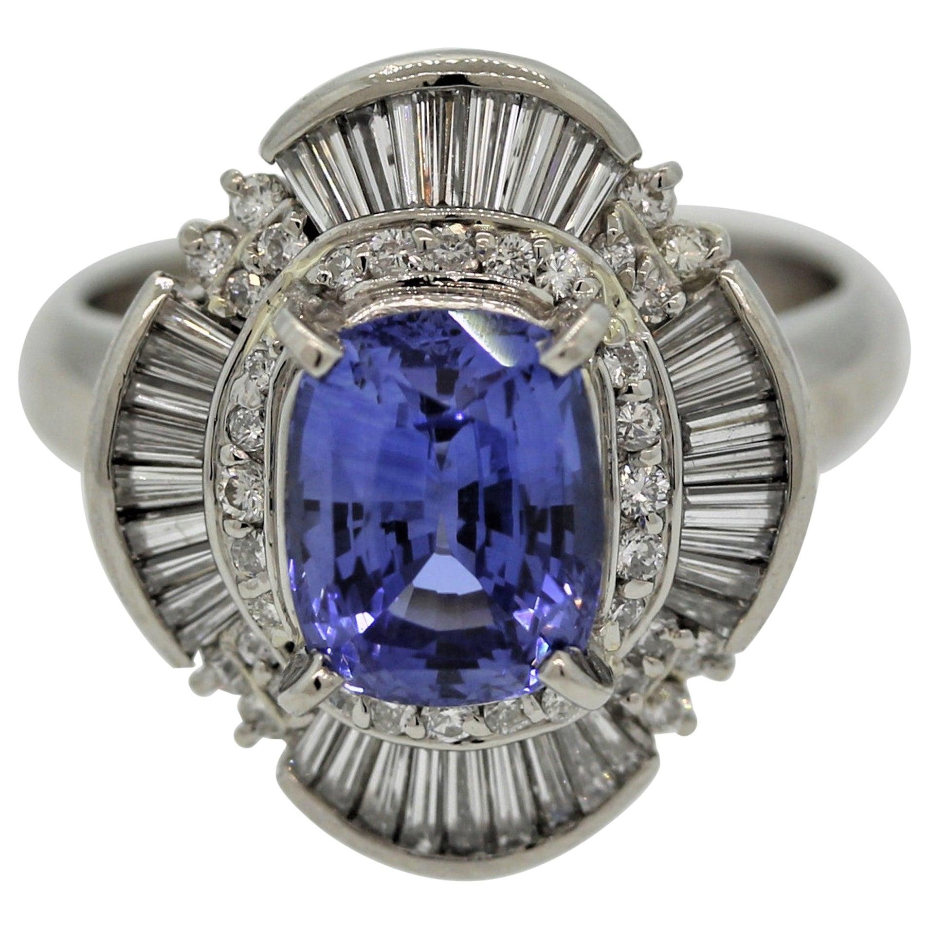 Classic Sapphire Diamond Platinum Ring