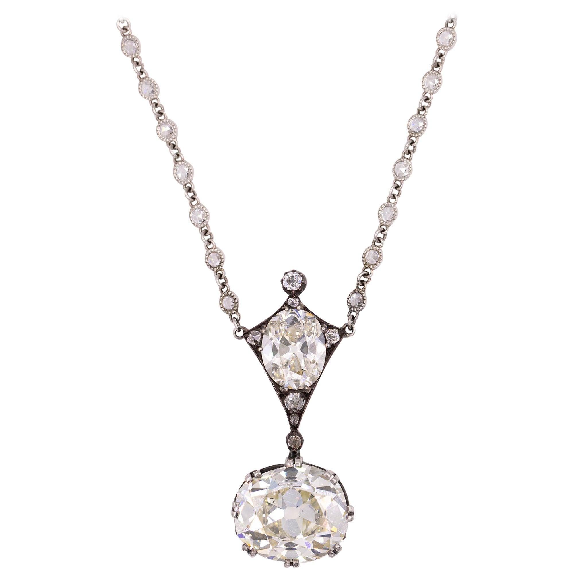 Antique Platinum and Sterling Silver Diamond Pendant