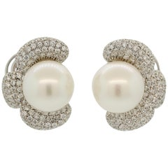 Extra Fine South Sea Pearl Diamond Gold Flower Clip Earrings