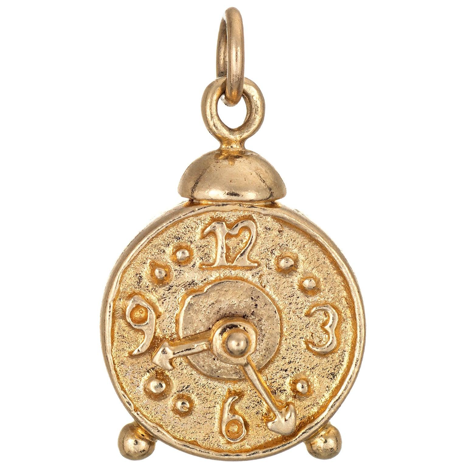Alarm Clock Charm 14 Karat Yellow Gold Number Dial Estate Jewelry Pendant