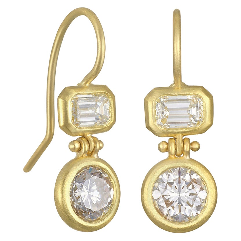 Faye Kim 18 Karat Gold Double Diamond Hinged Earrings