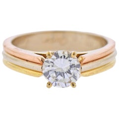 Cartier Trinity GIA 0.91 Carat G VVS2 Diamond Gold Engagement Ring