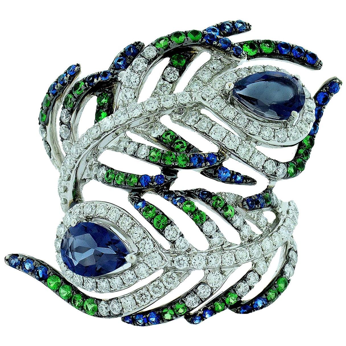 Sapphire Tsavorite and Diamond Peacock Ring