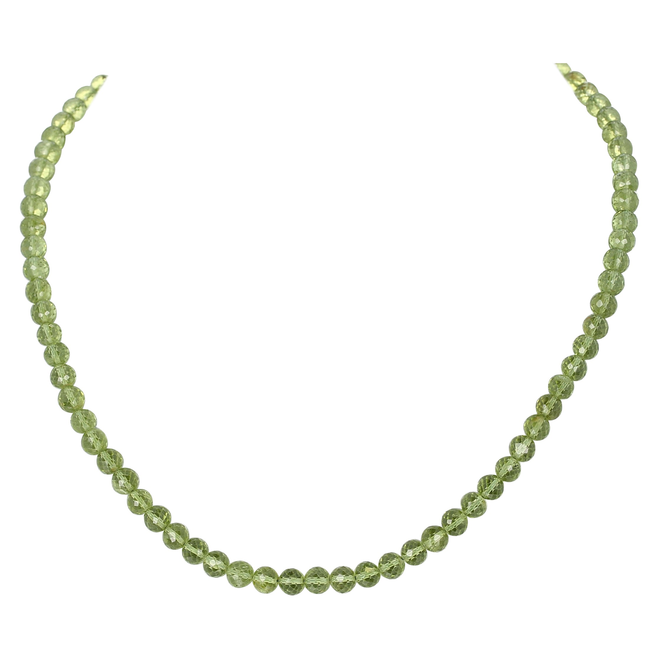 Peridot Faceted Round Beads Necklace, Toggle Clasp