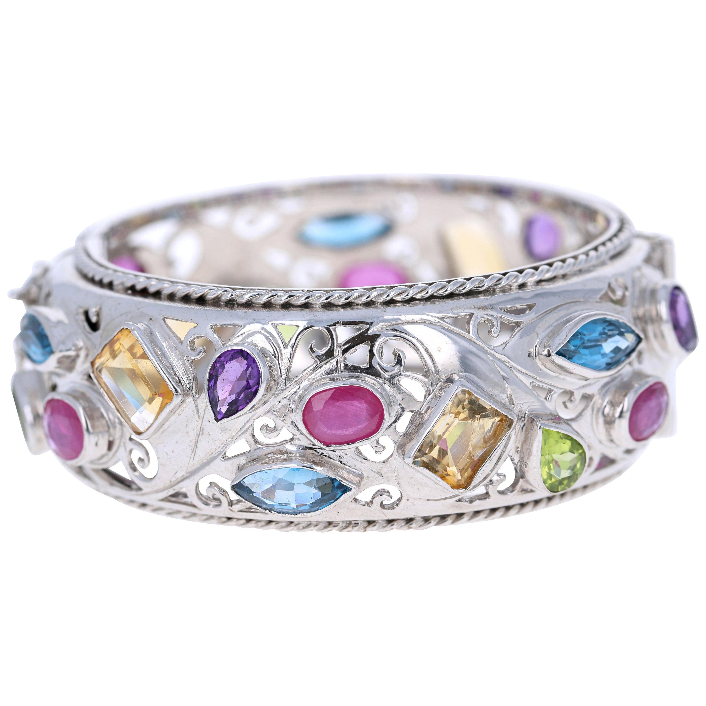 Multicolored Stone 925 Silver Bangle