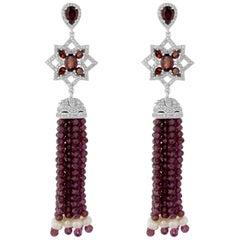 Garnet, Natural Zircon and Freshwater Pearl Tassel Earring in Sterling Silver