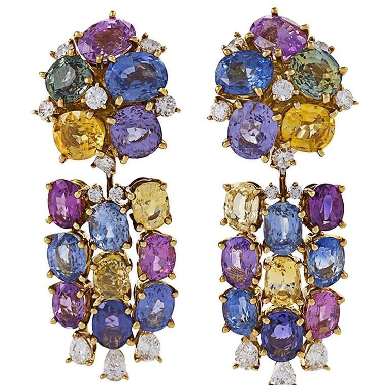 Meister Swiss 1980's Sapphire Diamond Gold Earrings For Sale