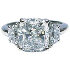 2.51 Carat Cushion Ring with Halfmoons