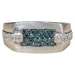 Designer Effy's 0.39 Carat Blue and White Diamond Cocktail Ring 14 Karat Gold