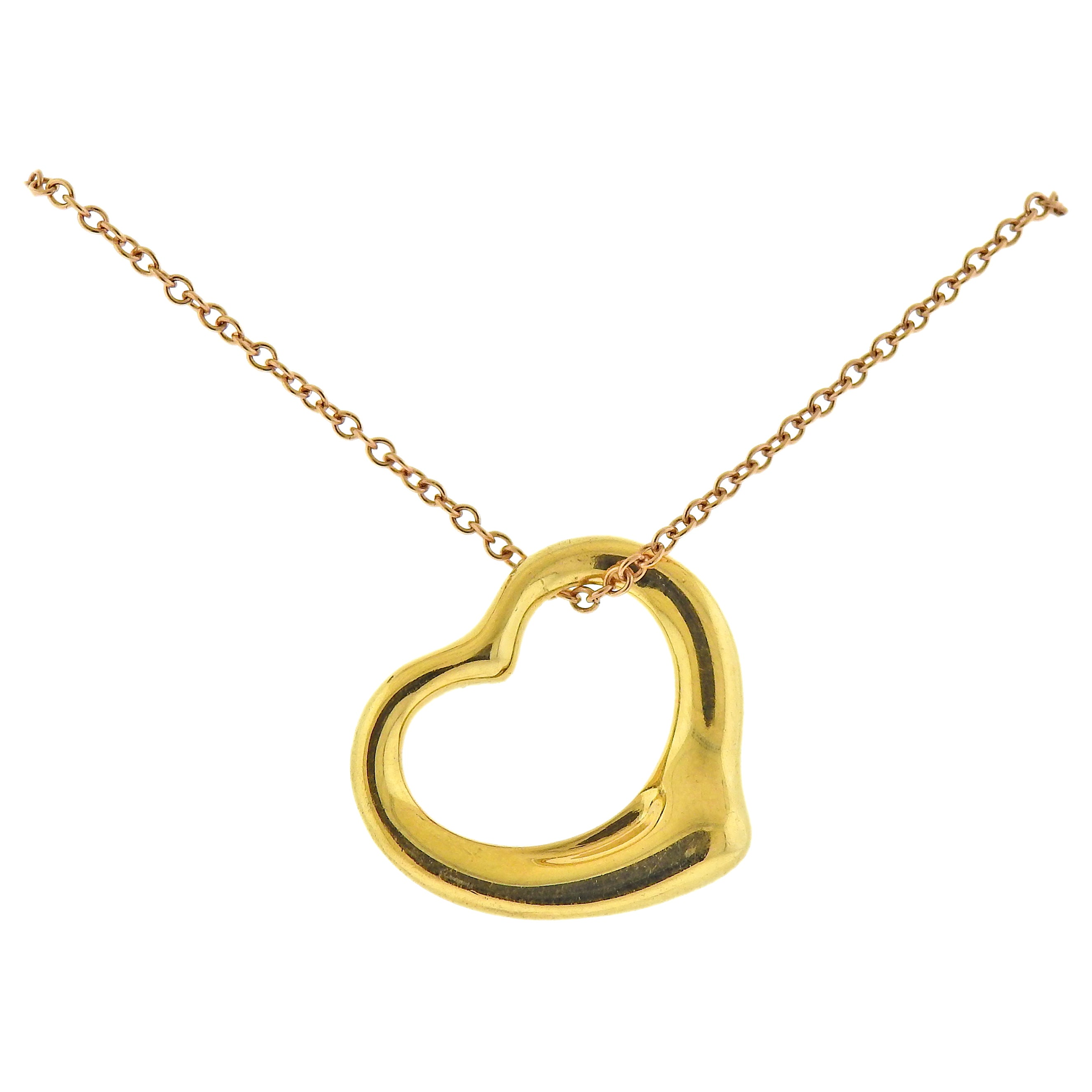 Tiffany & Co. Elsa Peretti Open Heart Gold Pendant Necklace