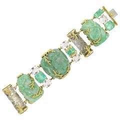 Impressive Seaman Schepps Jadeite Emerald Rock Crystal Snuff Bottle Bracelet