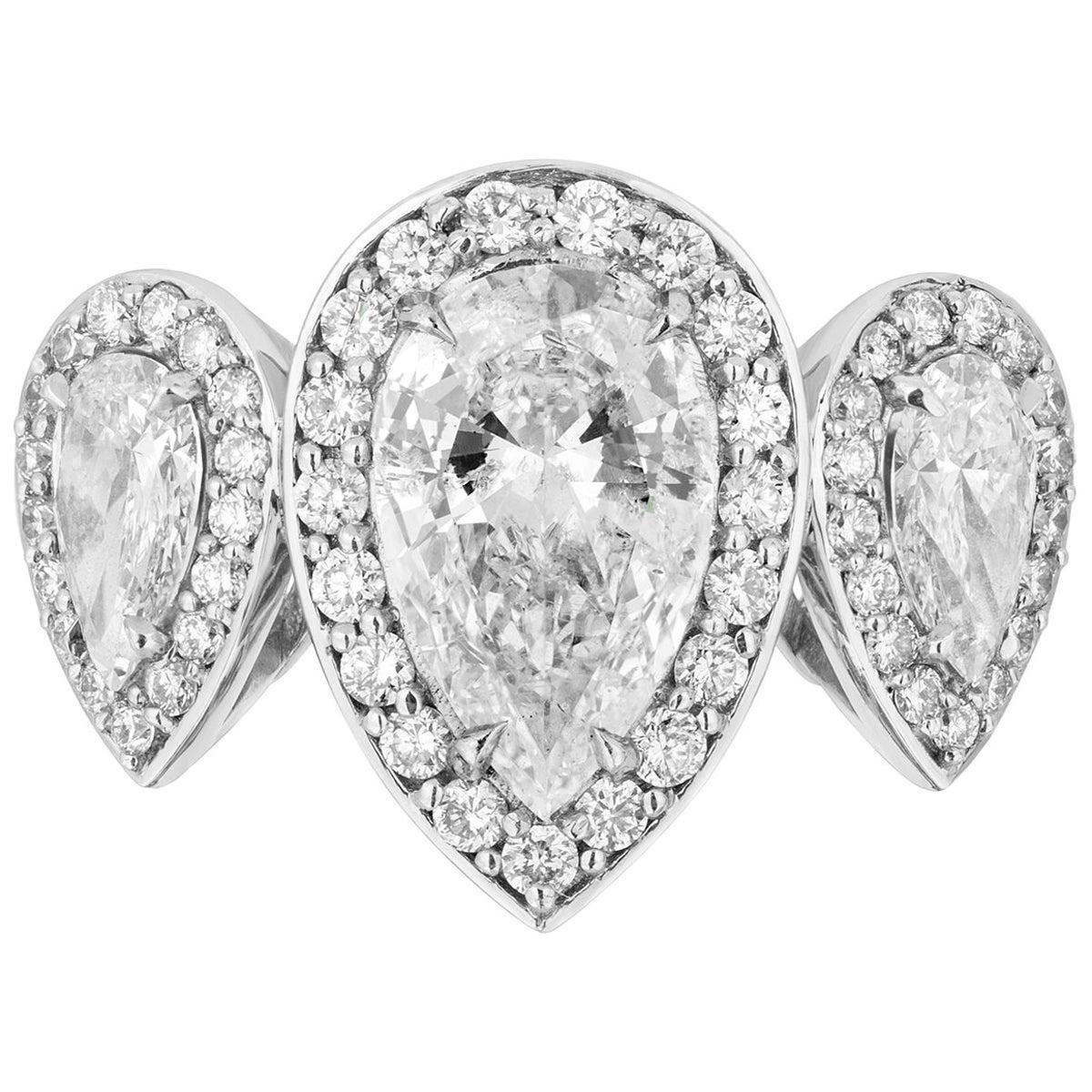 2.17 Carat Pear Shaped Diamond Three-Stone Ring