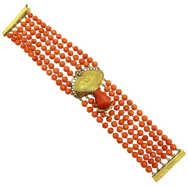 Victorian Coral Gold Bead Bracelet