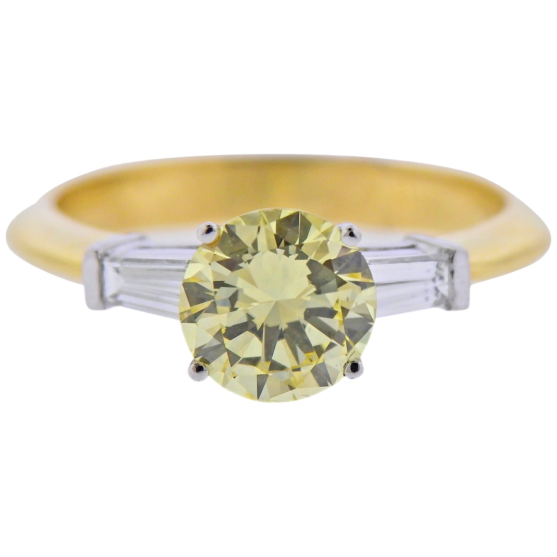 GIA 1.37 Carat Fancy Yellow Diamond Tiffany & Co. Gold Platinum Engagement Ring