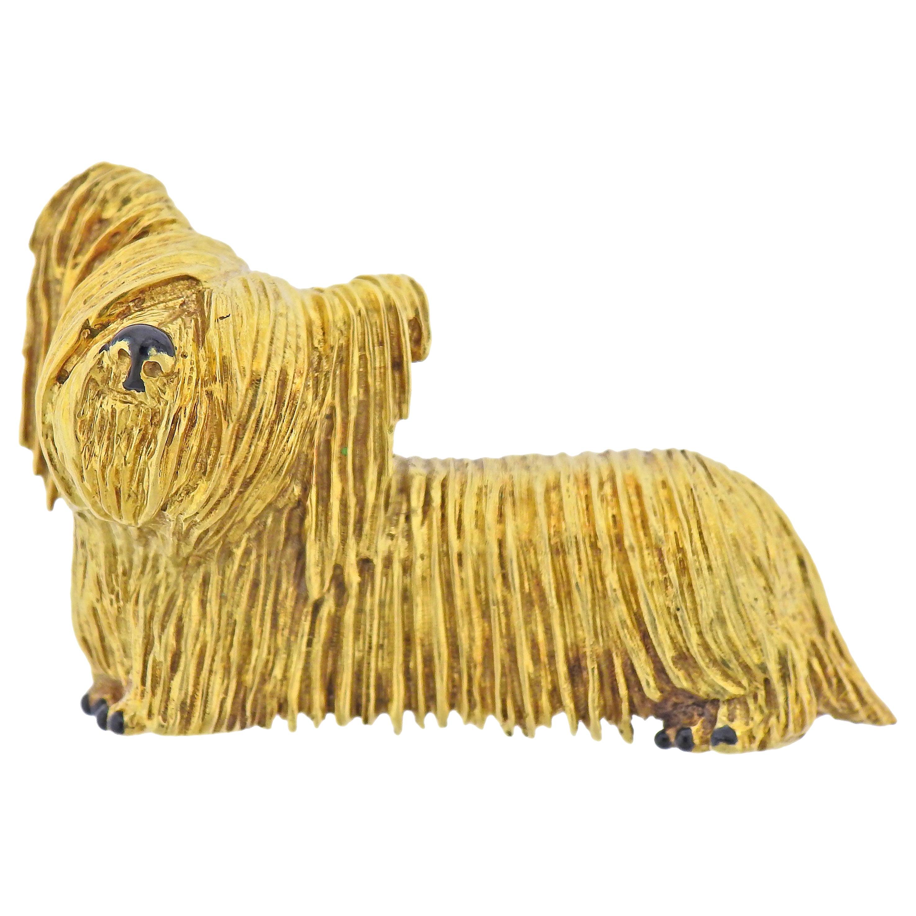 Tiffany & Co. Enamel Gold Westie Dog Brooch Pin