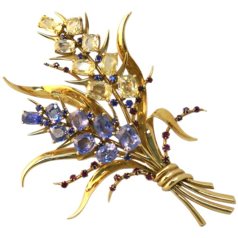 Retro Van Cleef & Arpels Sapphire Ruby gold Bouquet Brooch