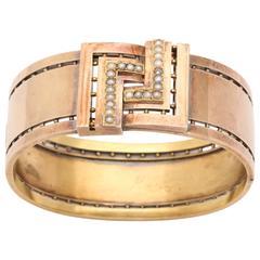 Natural Pearl Gold Hinged Bangle Bracelet