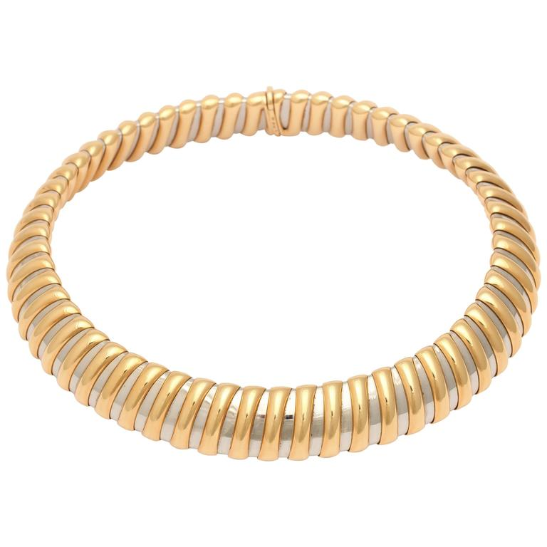 Bulgari Steel Gold Rigid Collar Necklace