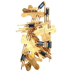 Abstract Sapphire Gold Leaf Brooch