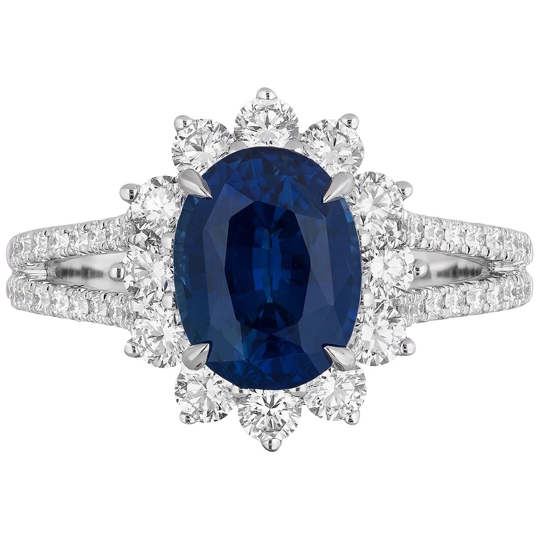 2.82 Carat Sapphire Diamond Cocktail Ring