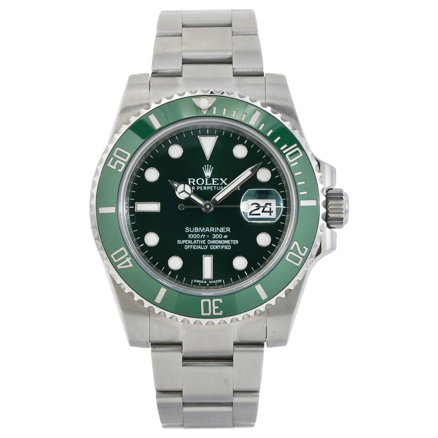 Rolex Submariner 116610LV, Green Dial, Certified and Warranty